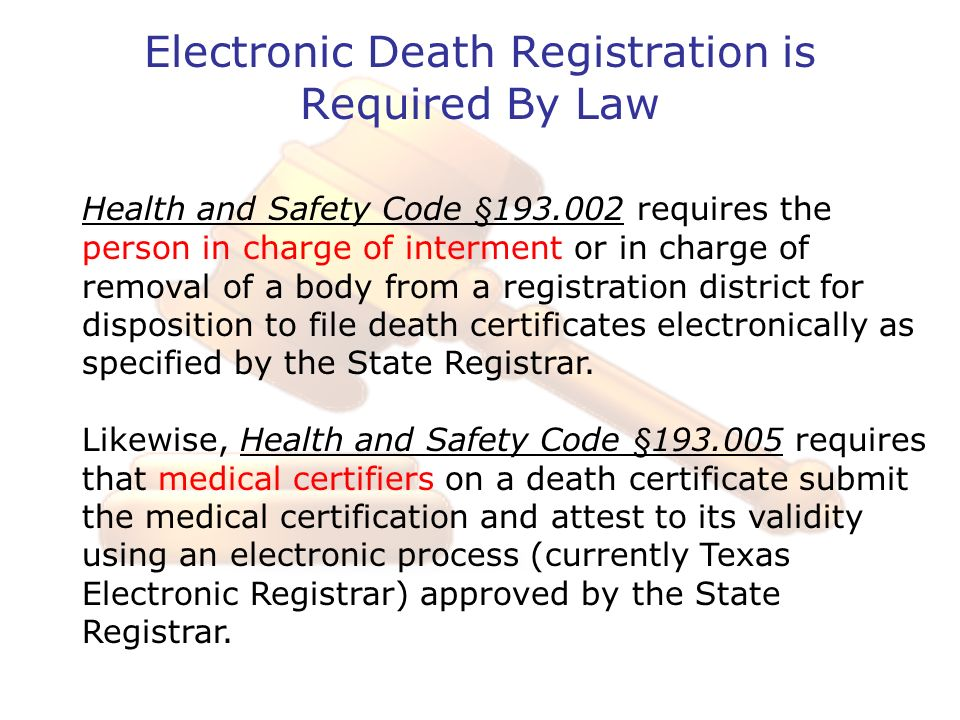Electronic Death Registration is Required By Law