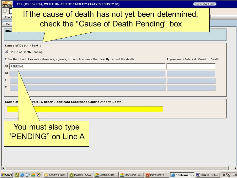 You must also type PENDING on Line A