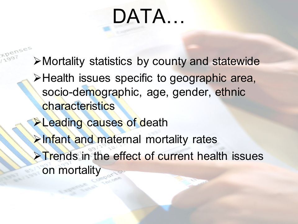 DATA… Mortality statistics by county and statewide