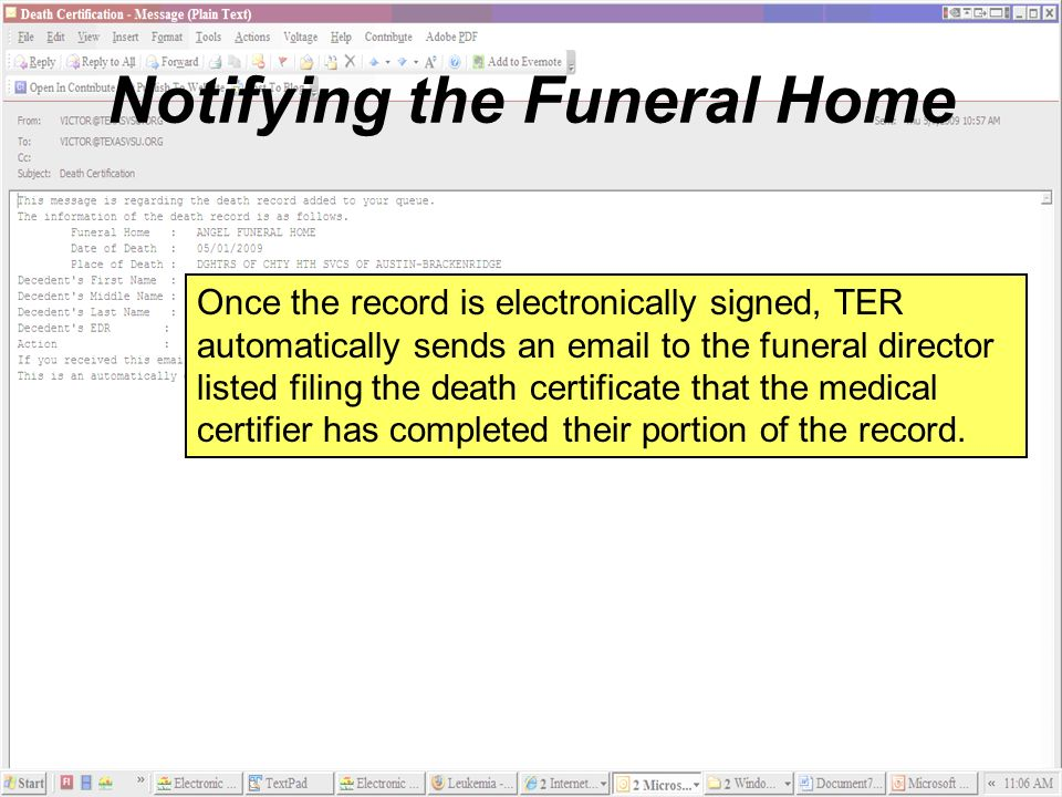 Notifying the Funeral Home