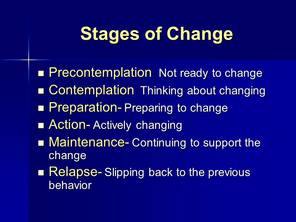 Stages of Change Precontemplation- Not ready to change