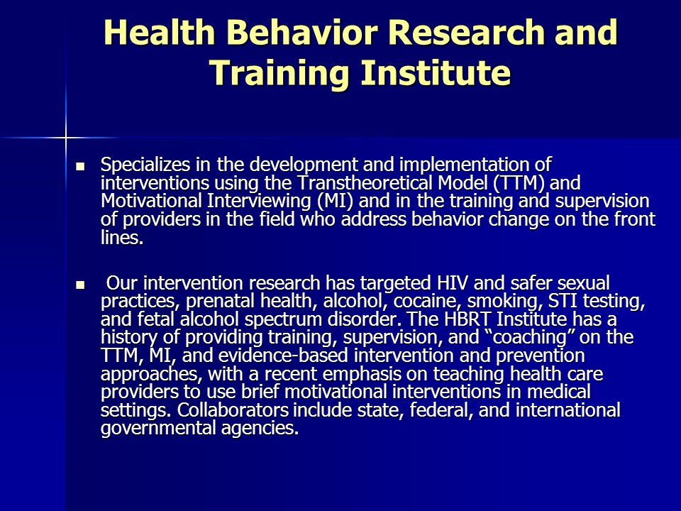 Health Behavior Research and Training Institute