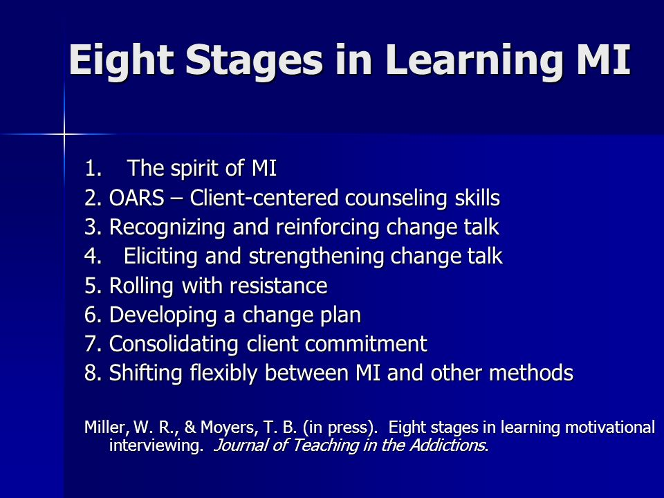 Eight Stages in Learning MI