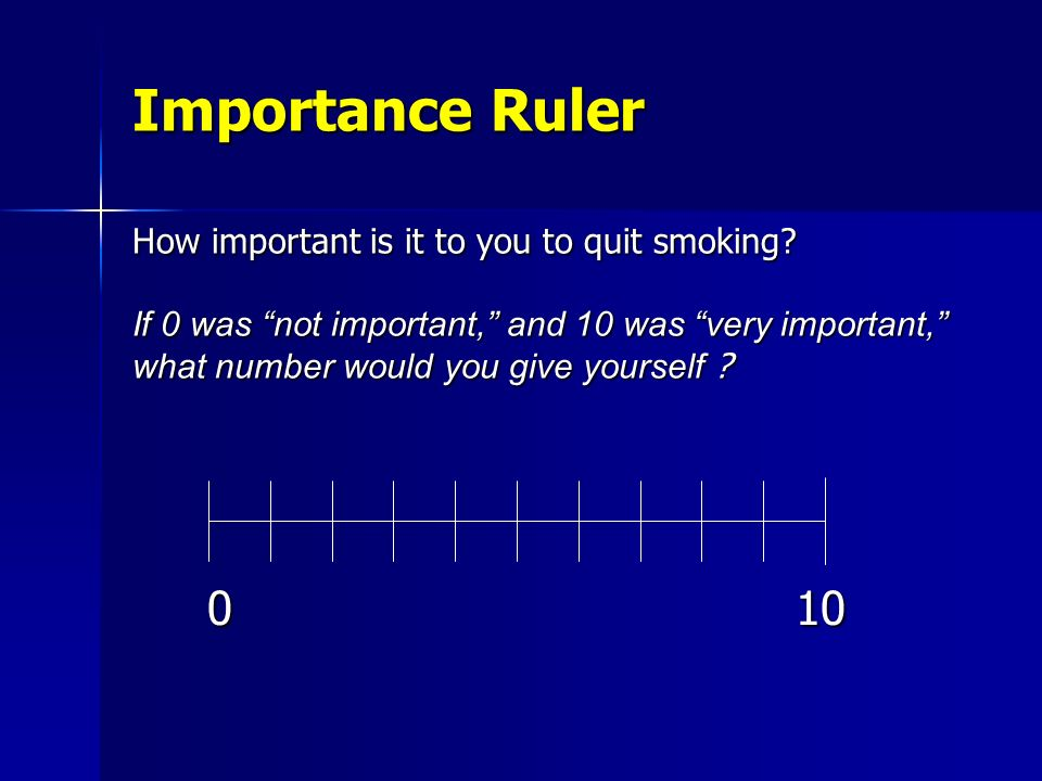 Importance Ruler How important is it to you to quit smoking