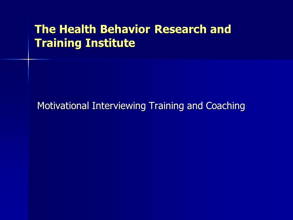 The Health Behavior Research and Training Institute
