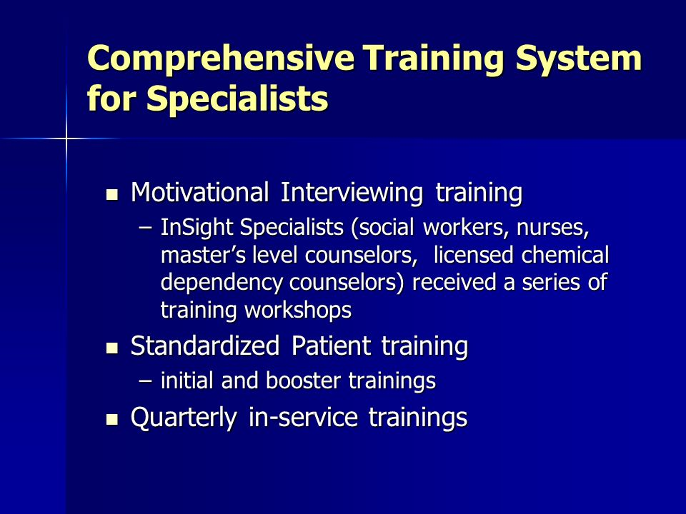 Comprehensive Training System for Specialists
