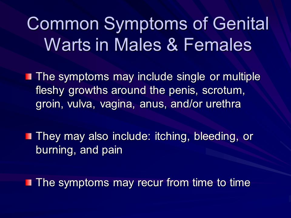 Common Symptoms of Genital Warts in Males & Females