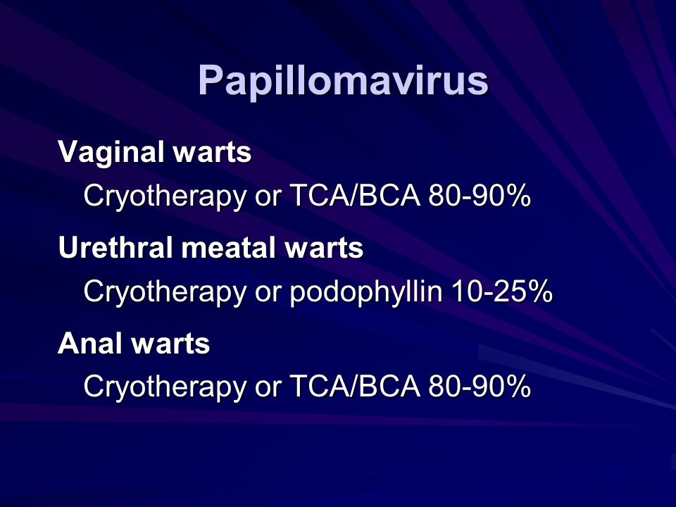 Papillomavirus Vaginal warts Cryotherapy or TCA/BCA 80-90%