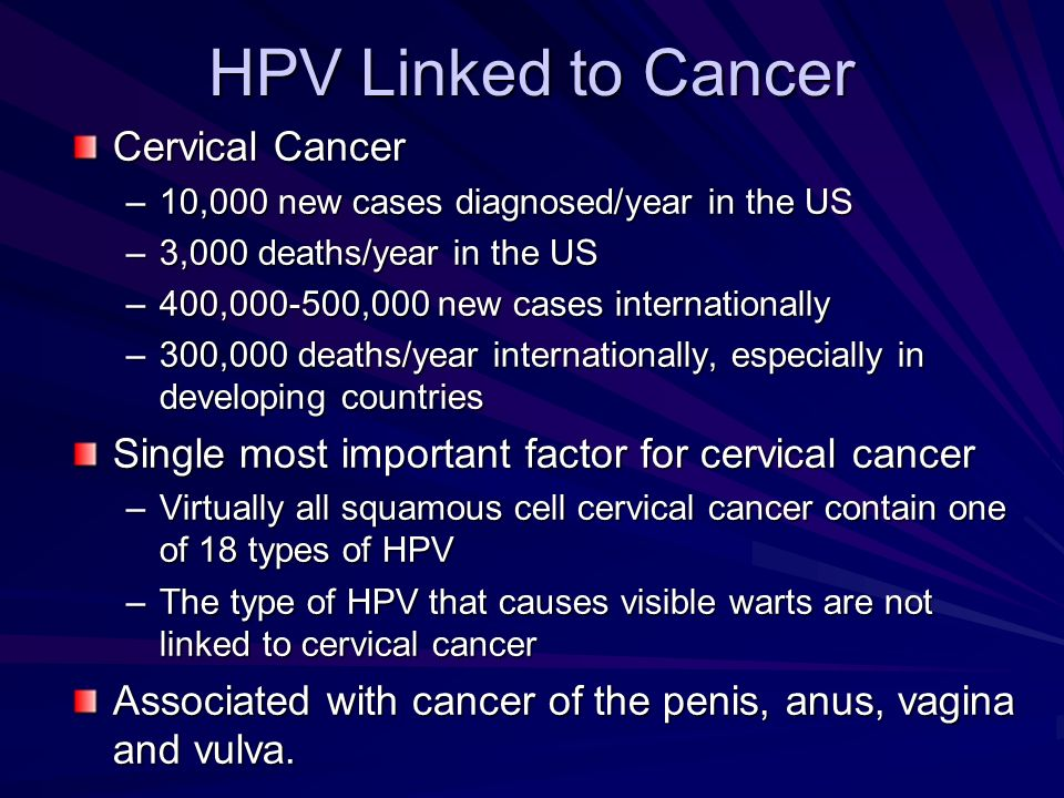 HPV Linked to Cancer Cervical Cancer