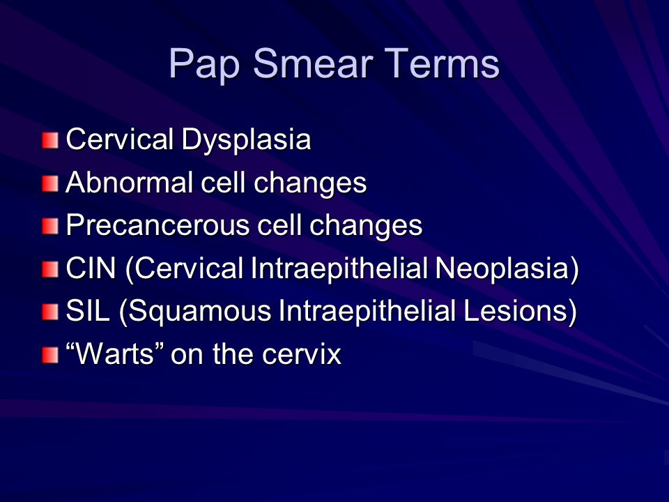 Pap Smear Terms Cervical Dysplasia Abnormal cell changes
