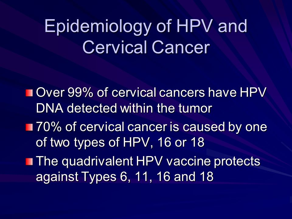 Epidemiology of HPV and Cervical Cancer