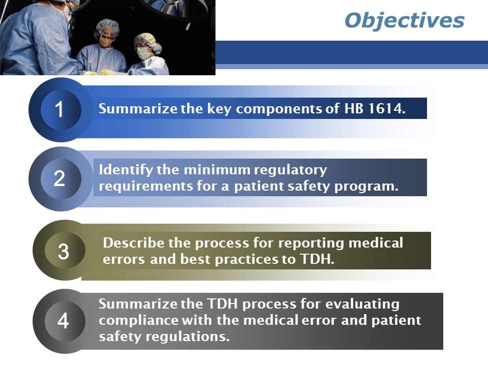 1 2 3 4 Objectives Summarize the key components of HB 1614.