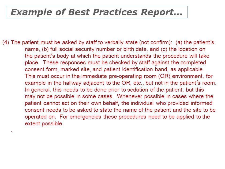 Example of Best Practices Report...