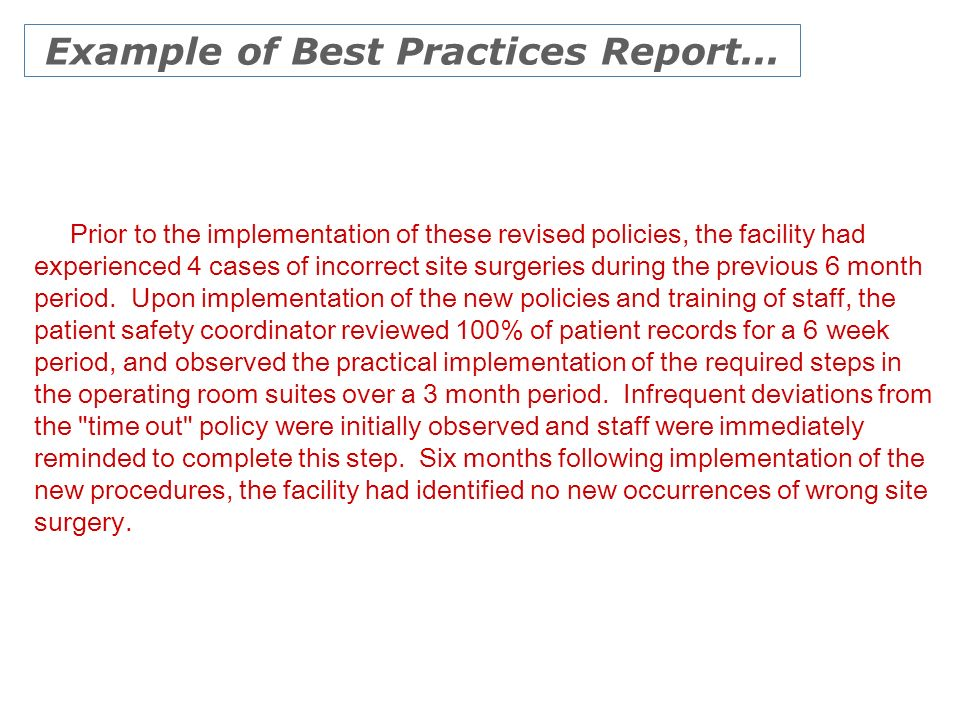 Example of Best Practices Report...