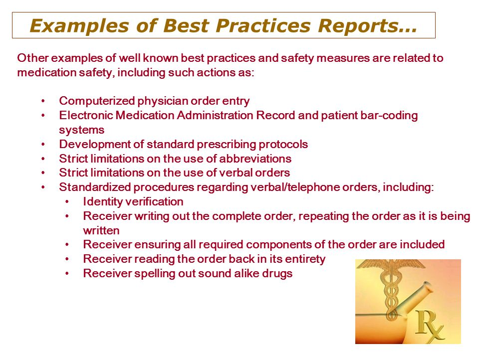 Examples of Best Practices Reports...