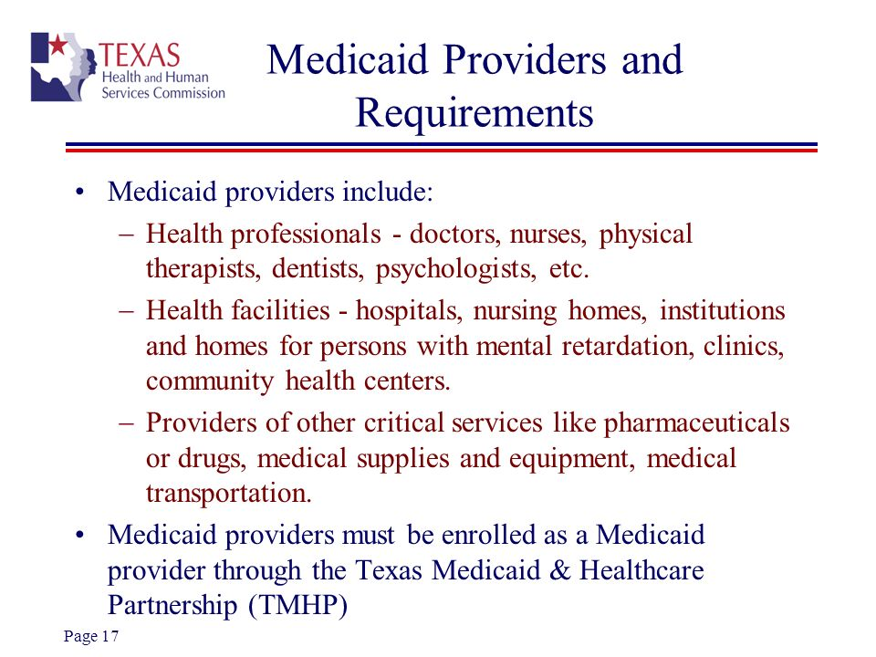 Medicaid Providers and Requirements