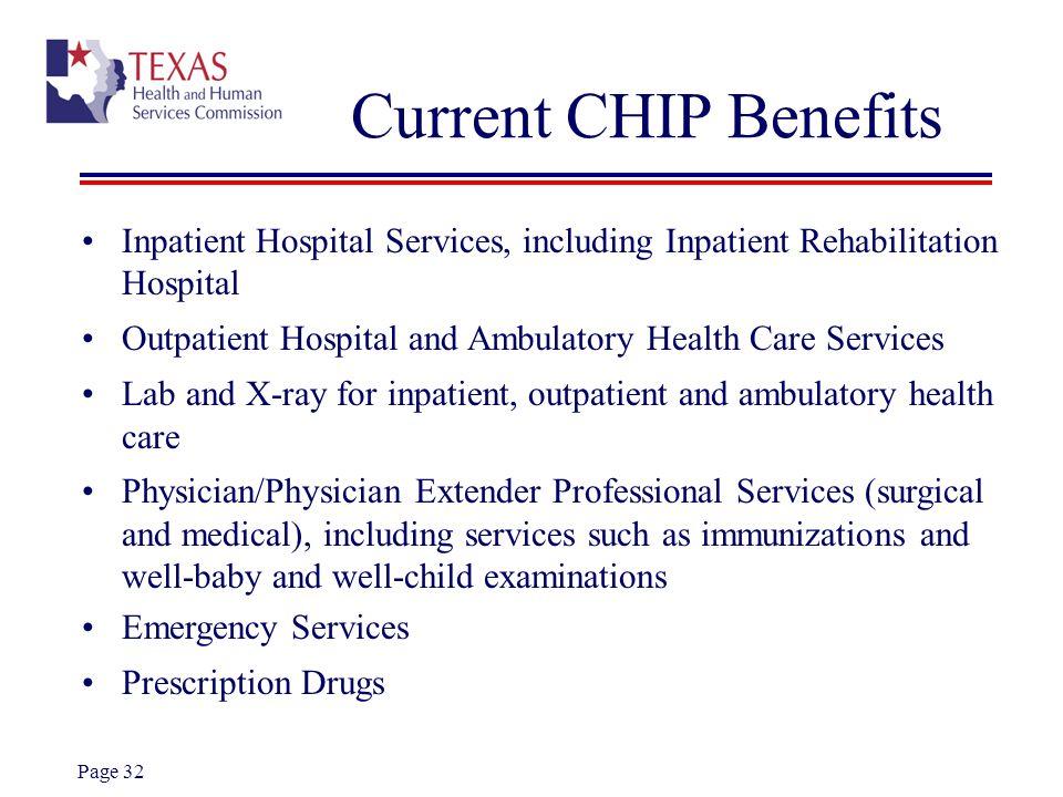 Current CHIP Benefits Inpatient Hospital Services, including Inpatient Rehabilitation Hospital.