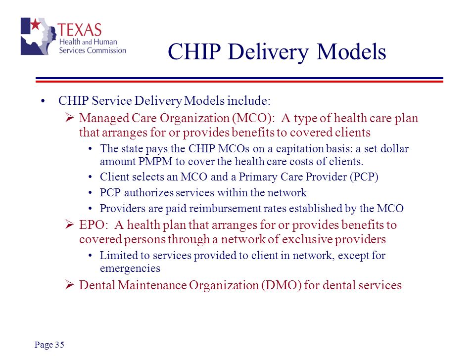 CHIP Delivery Models CHIP Service Delivery Models include: