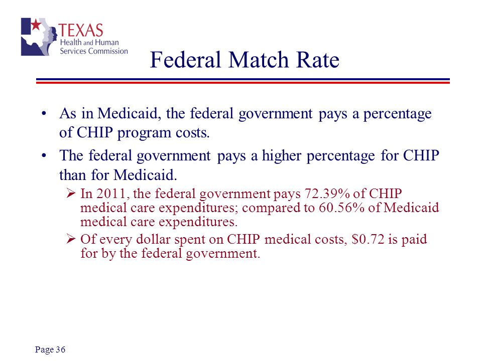 Federal Match RateAs in Medicaid, the federal government pays a percentage of CHIP program costs.