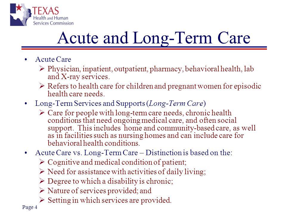 Acute and Long-Term Care