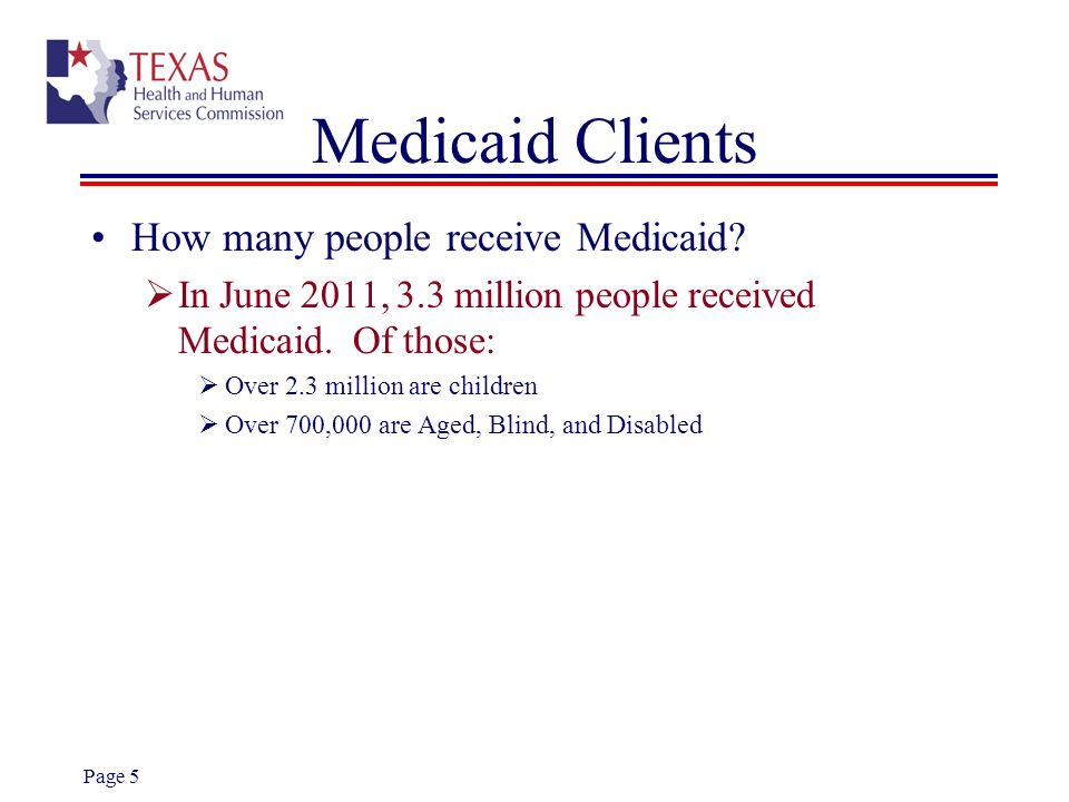 Medicaid Clients How many people receive Medicaid