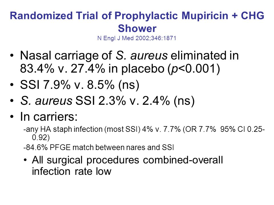 Randomized Trial of Prophylactic Mupiricin + CHG Shower N Engl J Med 2002;346:1871