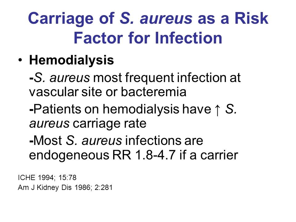 Carriage of S. aureus as a Risk Factor for Infection