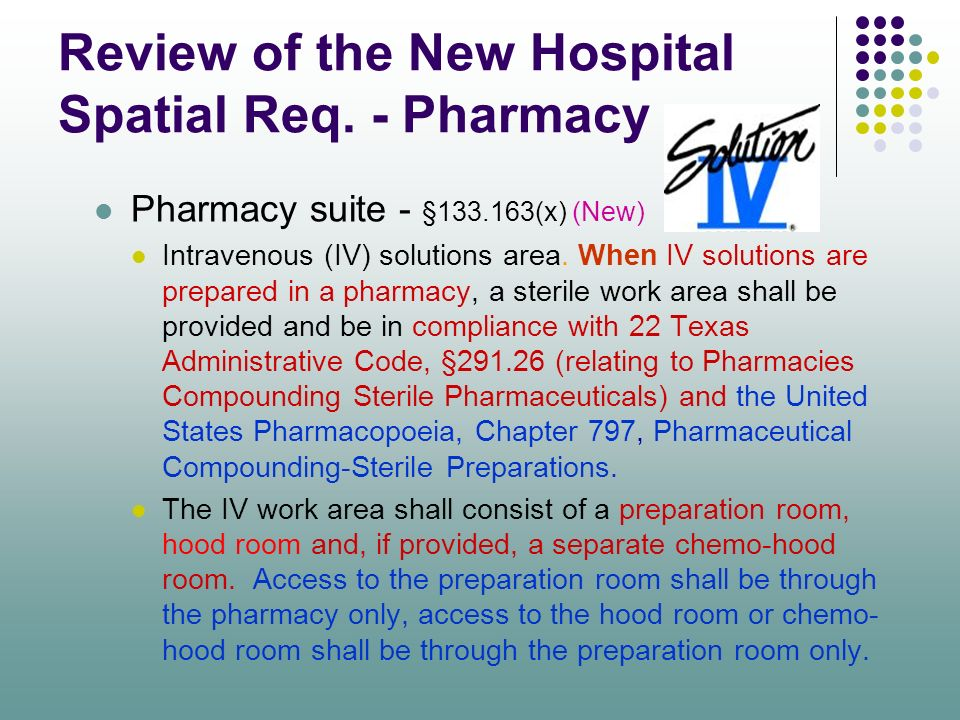 Review of the New Hospital Spatial Req. - Pharmacy