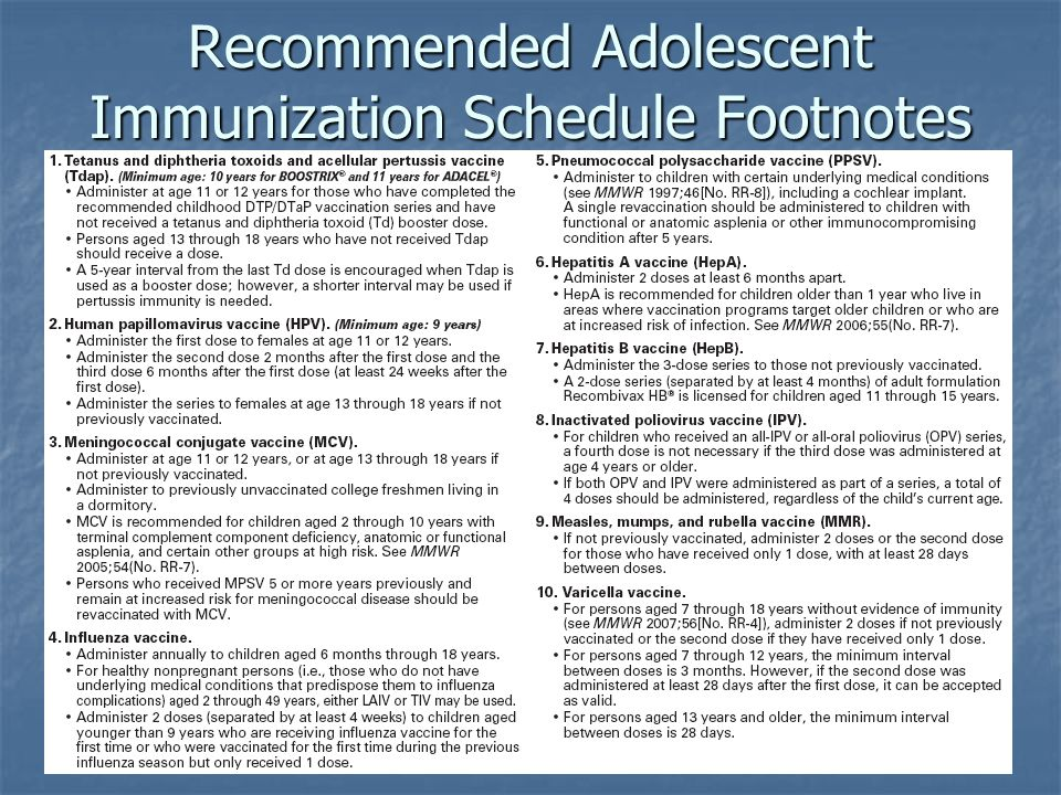 Recommended Adolescent Immunization Schedule Footnotes