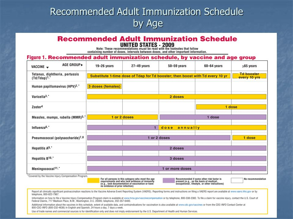 Recommended Adult Immunization Schedule by Age