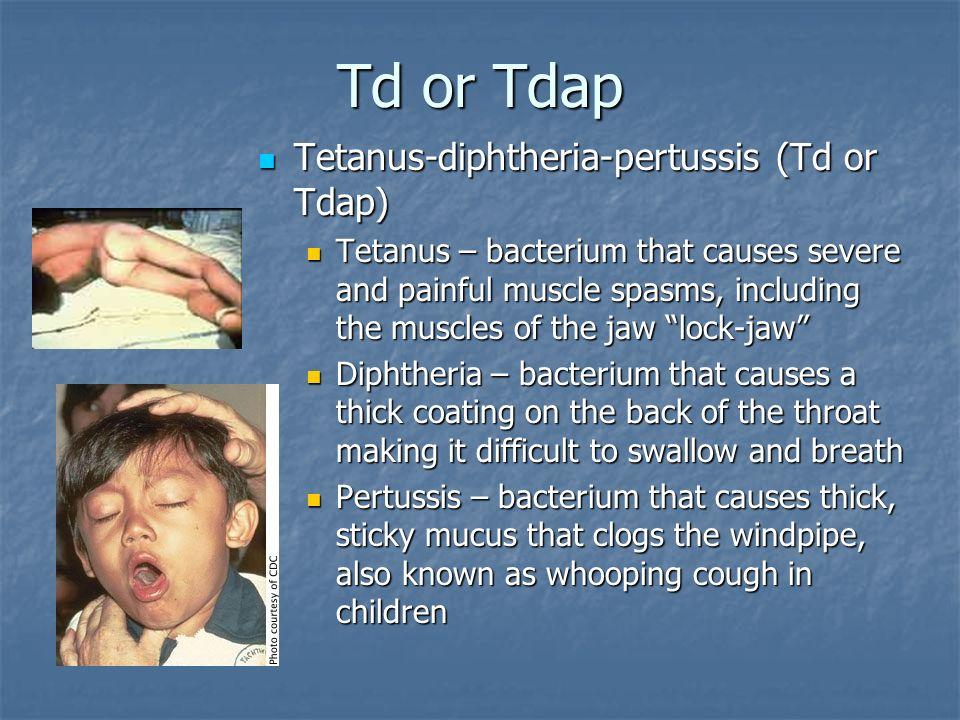 Td or Tdap Tetanus-diphtheria-pertussis (Td or Tdap)