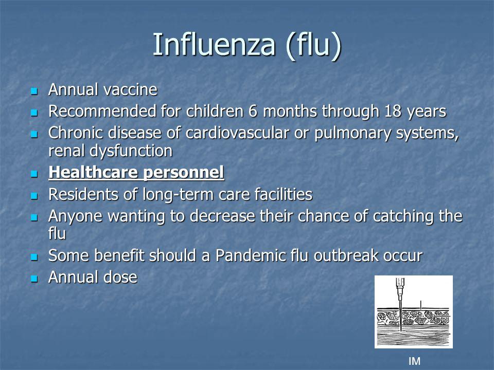 Influenza (flu) Annual vaccine
