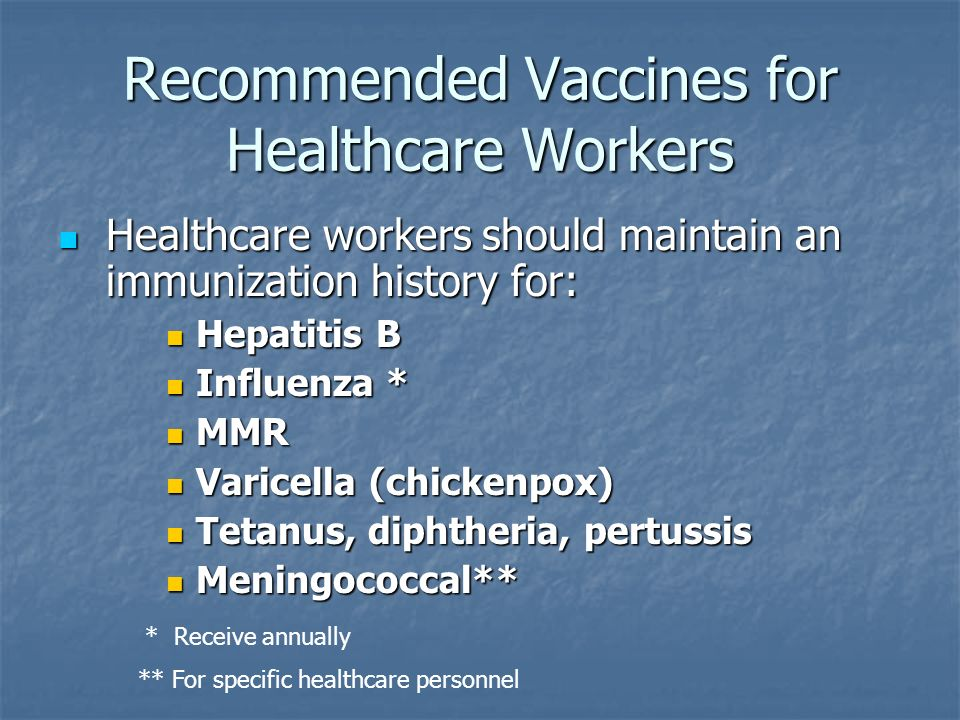 Recommended Vaccines for Healthcare Workers