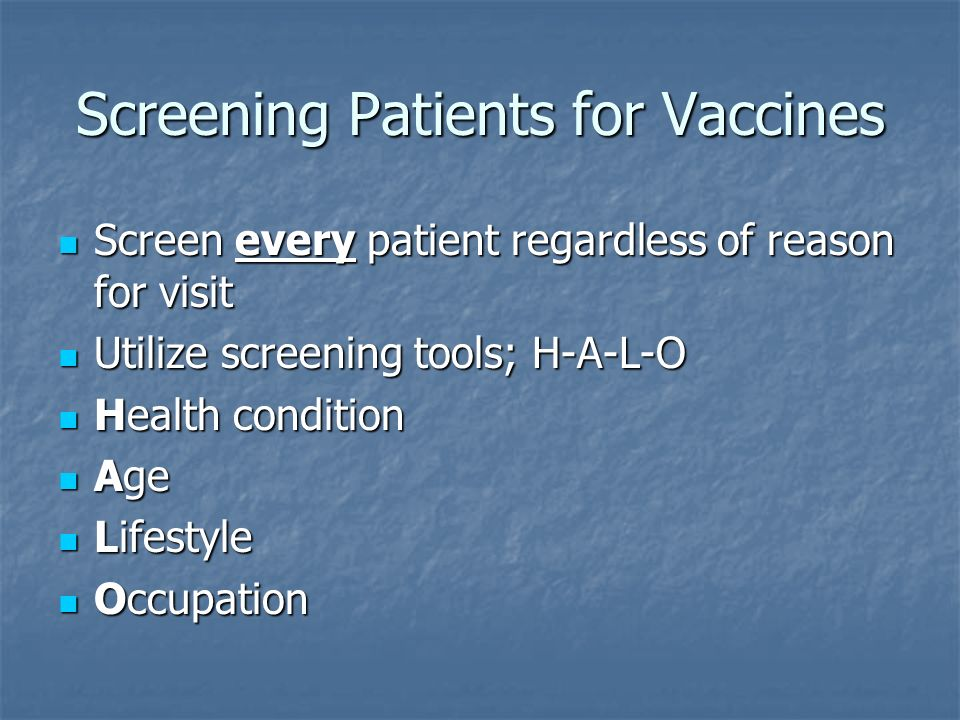 Screening Patients for Vaccines