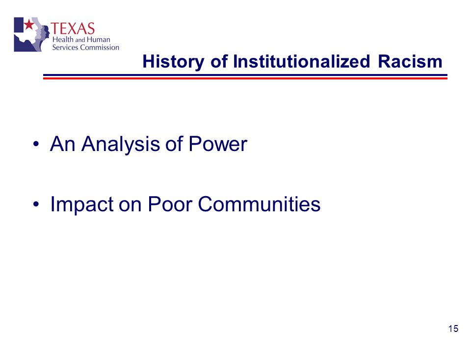 History of Institutionalized Racism