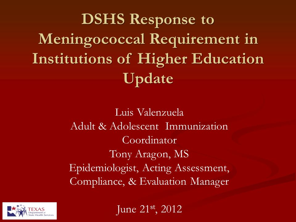 DSHS Response to Meningococcal Requirement in