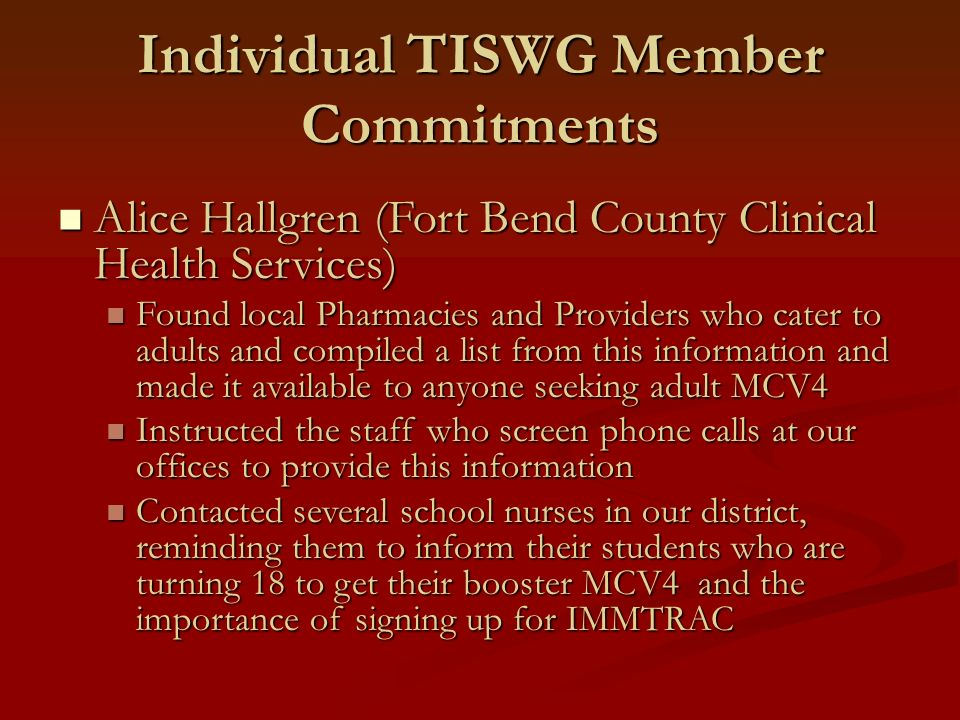 Individual TISWG Member Commitments