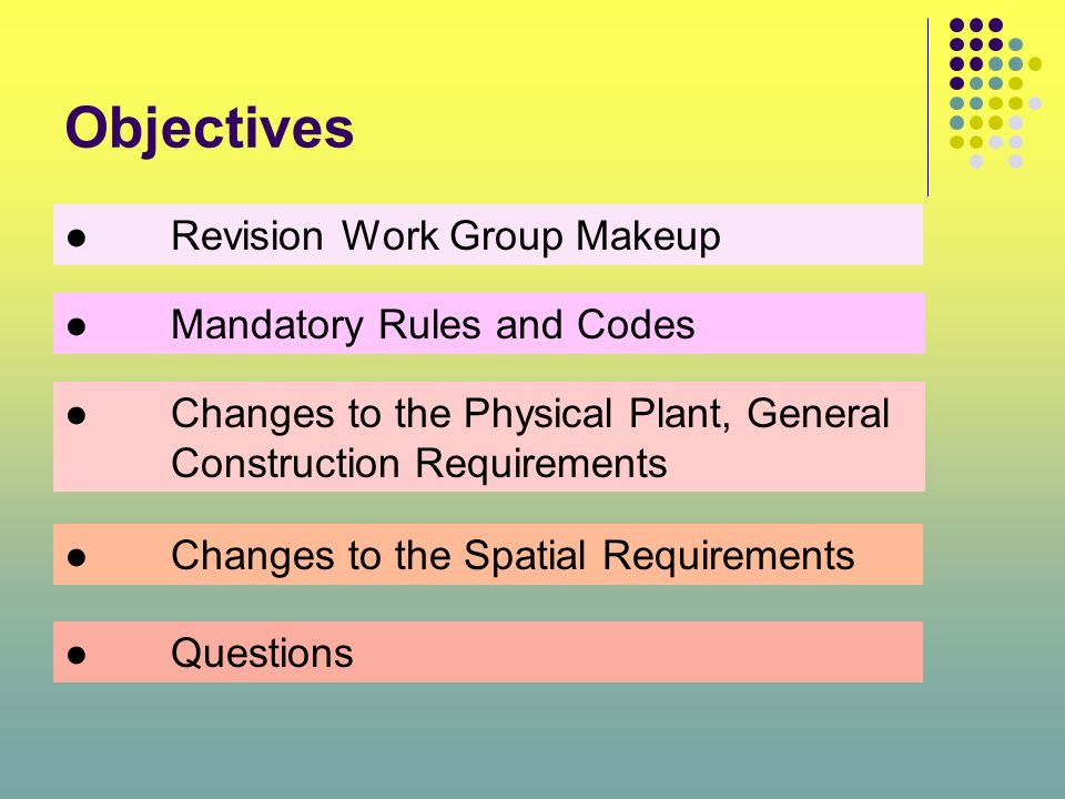 Objectives ● Revision Work Group Makeup ● Mandatory Rules and Codes