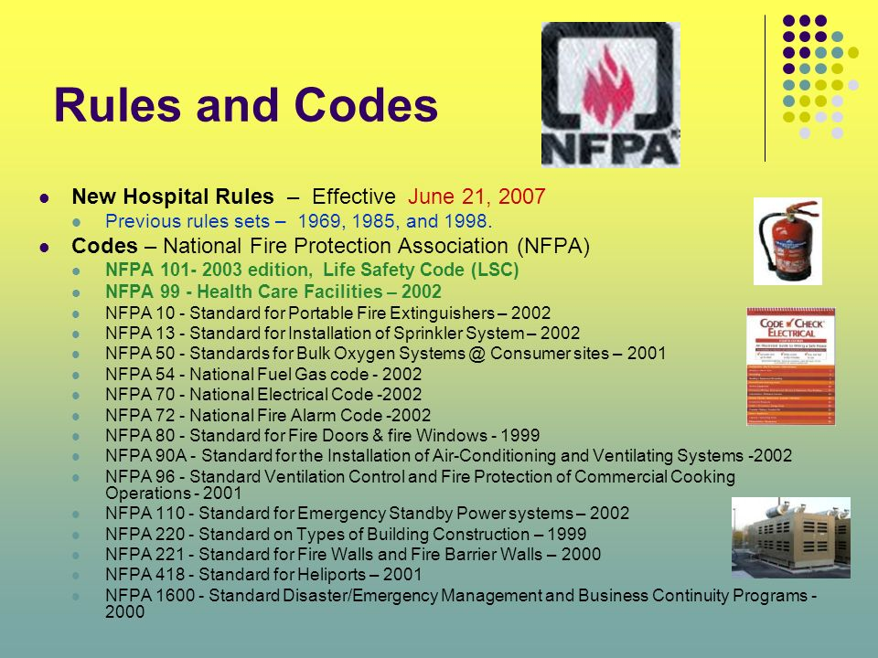 Rules and Codes New Hospital Rules – Effective June 21, 2007