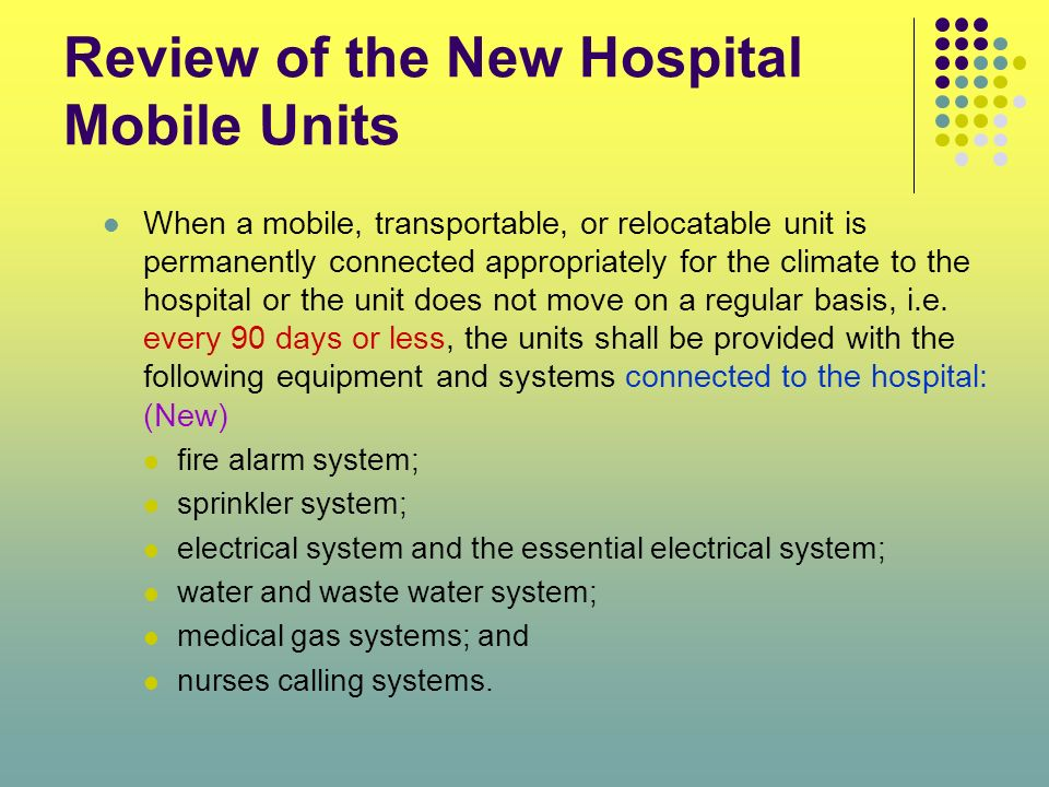 Review of the New Hospital Mobile Units