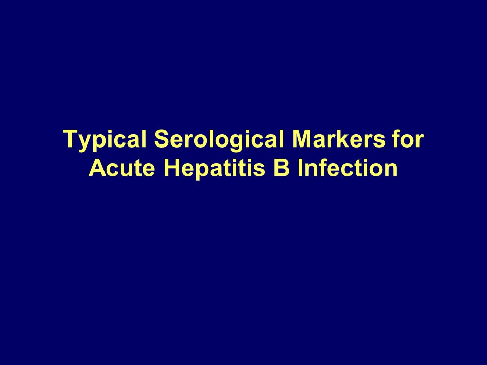 Typical Serological Markers for Acute Hepatitis B Infection