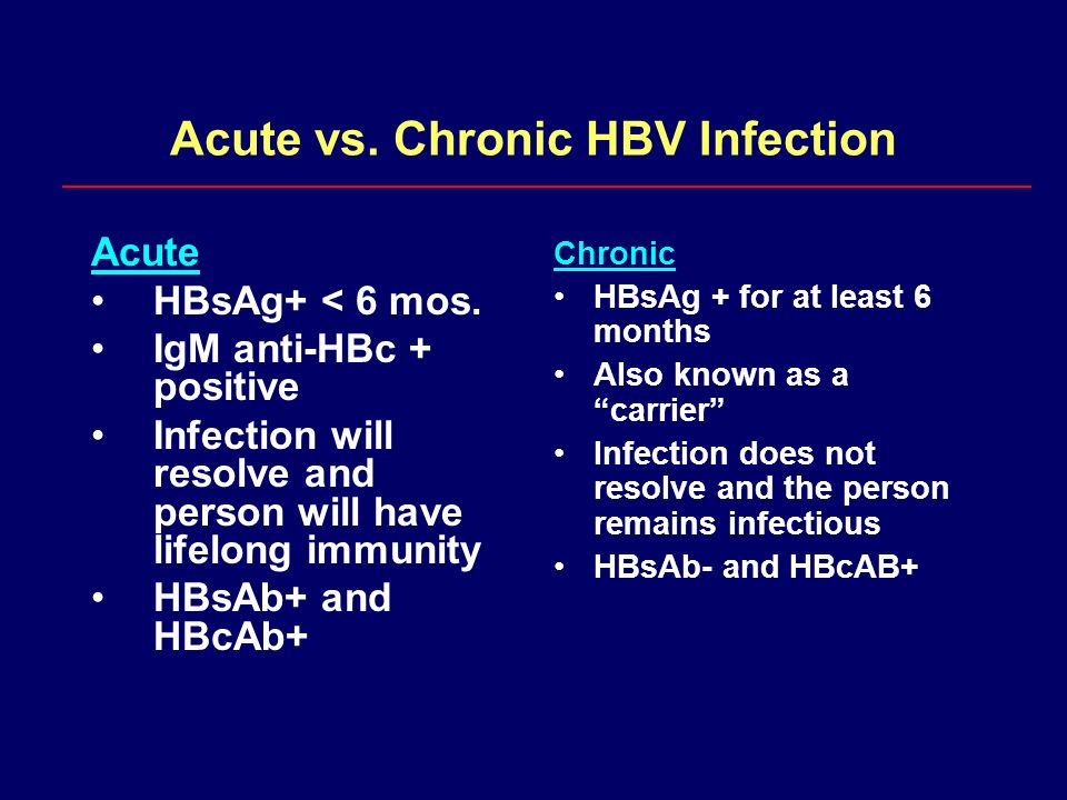 Acute vs. Chronic HBV Infection