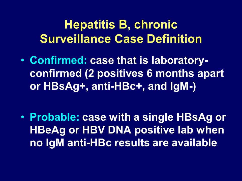 Hepatitis B, chronic Surveillance Case Definition