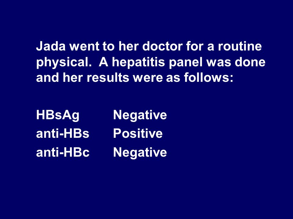 Jada went to her doctor for a routine physical