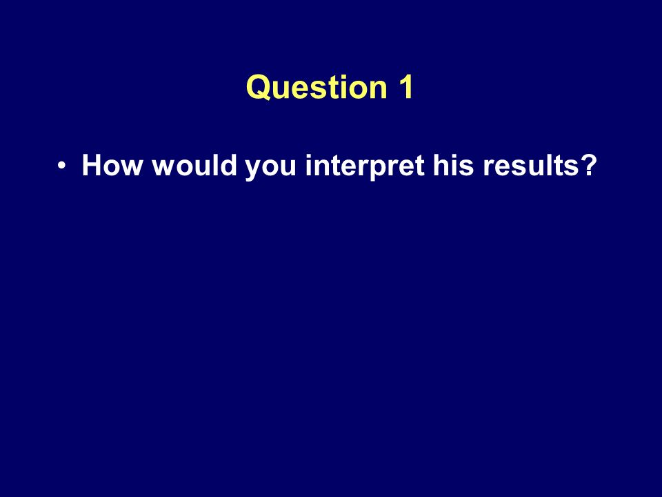 Question 1 How would you interpret his results