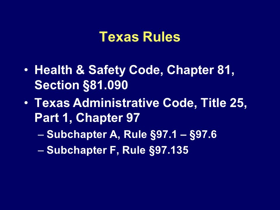 Texas Rules Health & Safety Code, Chapter 81, Section §81.090