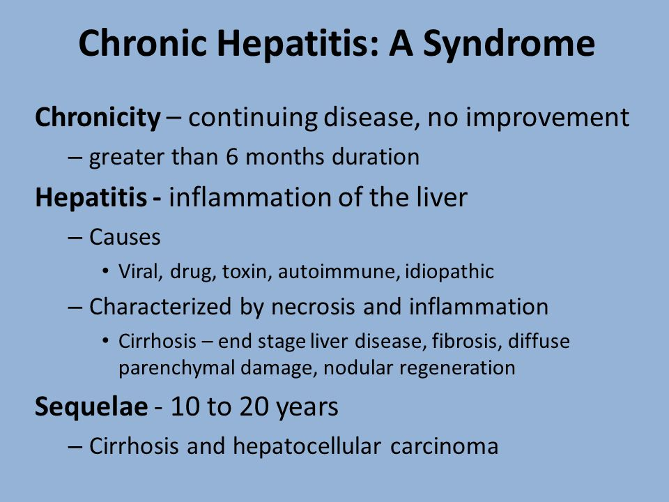Chronic Hepatitis: A Syndrome