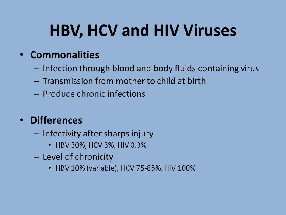 HBV, HCV and HIV Viruses Commonalities Differences