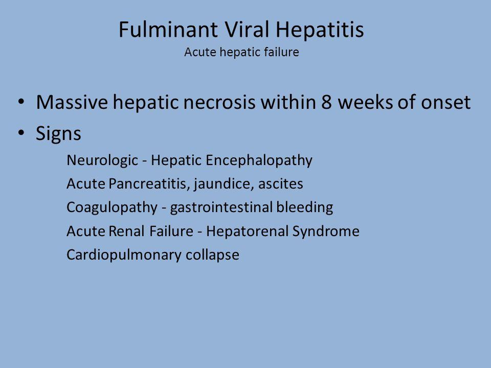 Fulminant Viral Hepatitis Acute hepatic failure