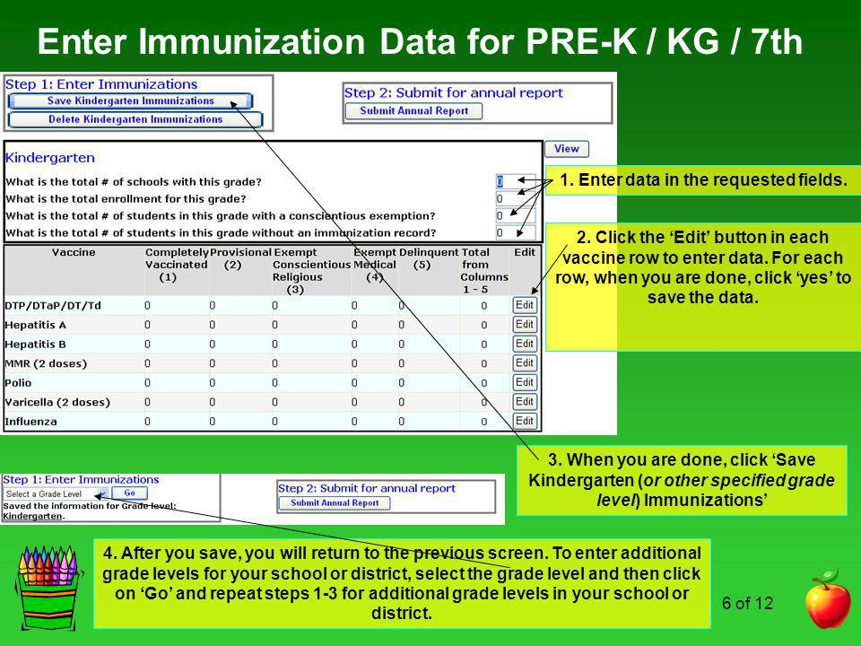 Enter Immunization Data for PRE-K / KG / 7th